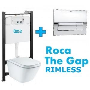 Комплект инсталляция, клавиша и подвесной унитаз Roca Gap Rimless, микролифт, 893104100