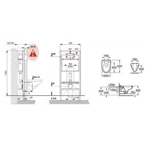 Комплект инсталляция, клавиша и подвесной унитаз ROCA MATEO, микролифт, 893100010
