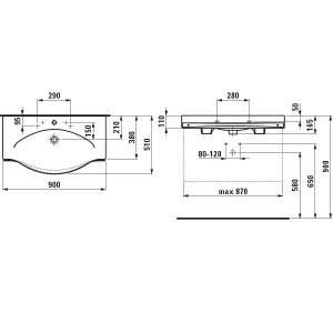 Тумба Laufen Case с раковиной Laufen Palace с полотенцедержателем, белая, 90 см, 4.0125.2 + 8.1270.2