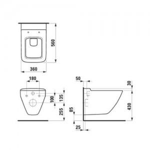 Комплект инсталляция+клавиша LAUFEN и подвесной унитаз PALACE 8.2070.0 с сидением микролифт
