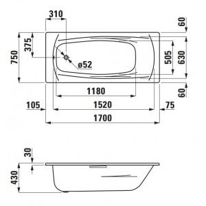 Стальная ванна LAUFEN PALLADIUM 170 х 75 с ножками, 2.2511.0 + 2.9617.1