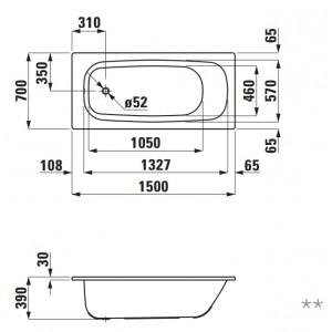 Стальная ванна LAUFEN PRO 150 х 70 с ручками и ножками, 2.2195.3 + 2.9618.1 + 2.9617.2