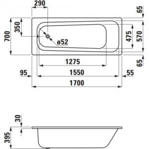 Стальная ванна LAUFEN PRO 170 х 70 с ножками, 2.2495.0 + 2.9617.2
