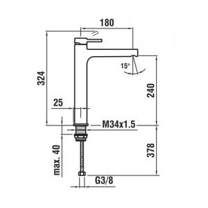 Высокий смеситель для раковины LAUFEN TWINPLUS, излив 180 мм, 3.1162.8.004.140.1