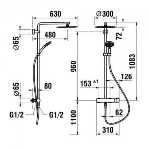 Душевая система Laufen Twinplus, с верхним душем 300мм, 3.3362.7.004.536.1