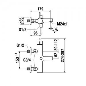 Смеситель для ванны LAUFEN TWINPLUS, с душевым комплектом, 3.2162.7.004.136.1