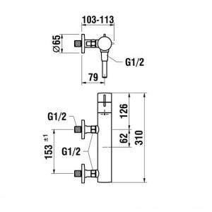 Термостатический смеситель для душа LAUFEN TWINPLUS 3.3362.7.004.400.1