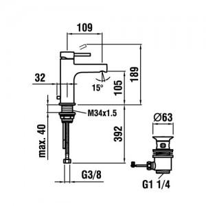 Смеситель для раковины LAUFEN TWINPLUS, излив 109 мм, 3.1162.1.004.111.1
