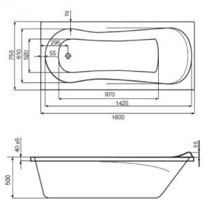 Акриловая ванна ROCA UNO 160x75, ZRU9302869+ZRU9302875