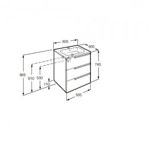 Тумба с раковиной ROCA VICTORIA NORD ICE EDITION, 3 ящика, 60 см, ZRU9302834+32799E000