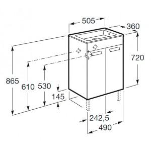 Тумба с раковиной ROCA DEBBA, дверцы, венге, 50 см, ZRU9302709+32799J000