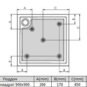 Поддон для душевого ограждения ROCA VICTORIA, квадрат, 90х90 см, 276255000+27M052000